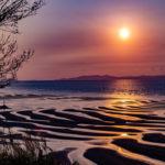 御輿来海岸が作り出す砂紋の夕焼けは異世界の美しさであった。