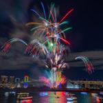 お台場レインボー花火(12月開催) を打ち上げ場所正面から撮影する。