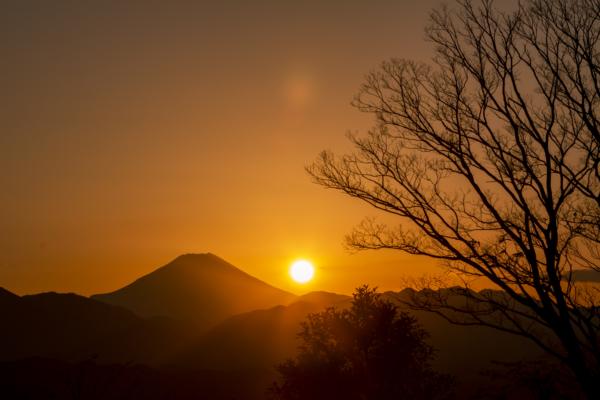 高尾山山頂で見る富士山へ沈む夕焼けは圧巻の絶景。