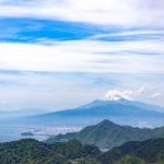 伊豆の国パノラマパーク 富士見テラスから富士山と駿河湾の絶景を見渡す。