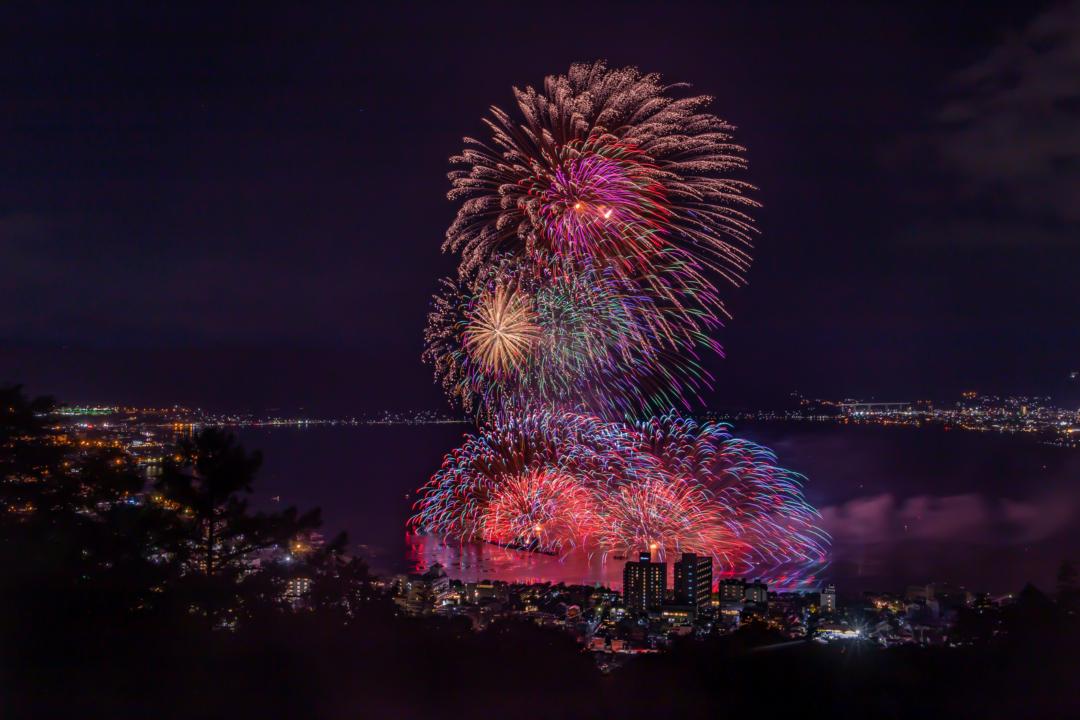 諏訪湖,全国新作花火競技大会を立石公園から見てきた。混雑具合、注意点など。